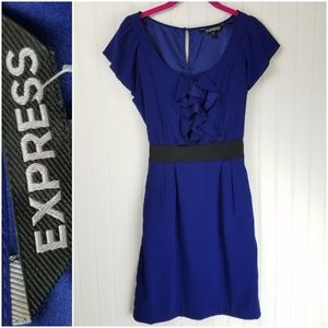 Express Royal Blue Dress Flutter Sleeves Tie Belt